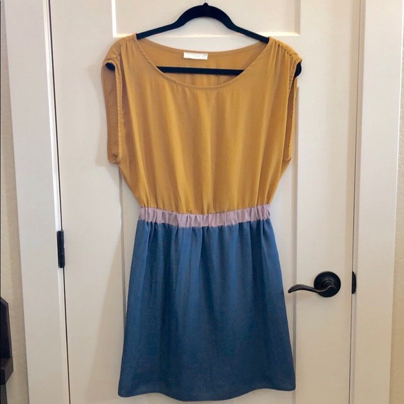 Lush Dresses & Skirts - Lush Teal and Gold Color Block Dress